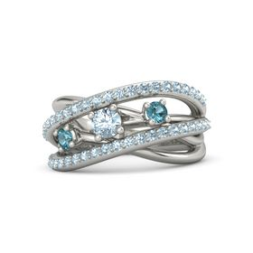Round Aquamarine 18K White Gold Ring with London Blue Topaz and Aquamarine