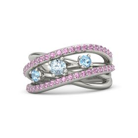 Round Aquamarine 18K White Gold Ring with Blue Topaz and Pink Tourmaline