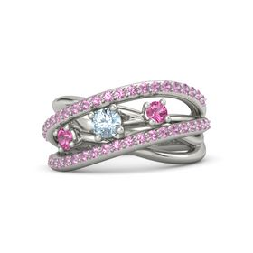 Round Aquamarine 18K White Gold Ring with Pink Tourmaline