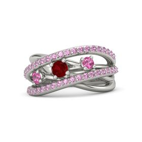 Round Ruby 18K White Gold Ring with Pink Tourmaline