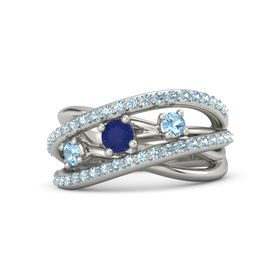 Round Blue Sapphire 18K White Gold Ring with Blue Topaz and Aquamarine