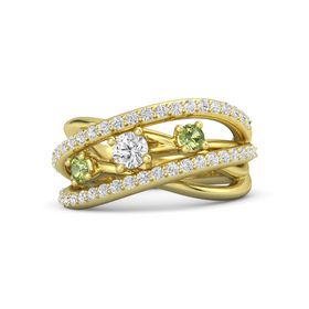 Round White Sapphire 18K Yellow Gold Ring with Peridot and White Sapphire