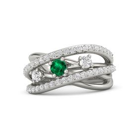 Round Emerald Palladium Ring with White Sapphire