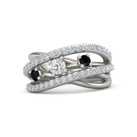 Round White Sapphire Palladium Ring with Black Onyx and Diamond