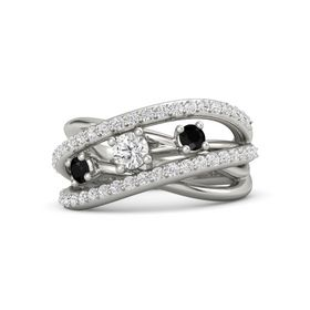 Round White Sapphire Palladium Ring with Black Onyx and White Sapphire