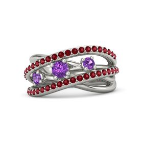 Round Amethyst Platinum Ring with Amethyst and Ruby