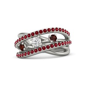 Round White Sapphire Platinum Ring with Red Garnet and Ruby