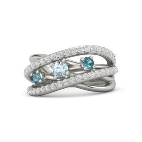 Round Aquamarine Platinum Ring with London Blue Topaz and White Sapphire