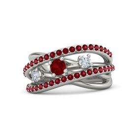 Round Ruby Platinum Ring with Diamond and Ruby
