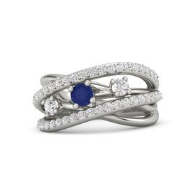 Round Blue Sapphire Platinum Ring with White Sapphire