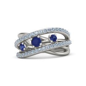 Round Blue Sapphire Platinum Ring with Blue Sapphire and Blue Topaz