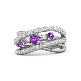 Round Amethyst Sterling Silver Ring with Amethyst and White Sapphire