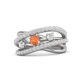 Round Fire Opal Sterling Silver Ring with White Sapphire