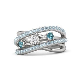 Round White Sapphire Sterling Silver Ring with London Blue Topaz and Aquamarine