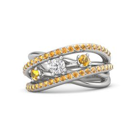 Round White Sapphire Sterling Silver Ring with Citrine