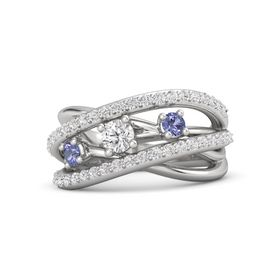 Round White Sapphire Sterling Silver Ring with Tanzanite and White Sapphire