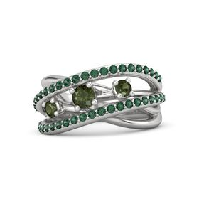Round Green Tourmaline Sterling Silver Ring with Green Tourmaline and Alexandrite
