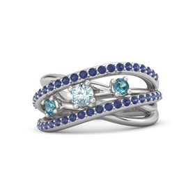 Round Aquamarine Sterling Silver Ring with London Blue Topaz and Blue Sapphire
