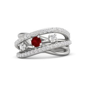 Round Ruby Sterling Silver Ring with White Sapphire