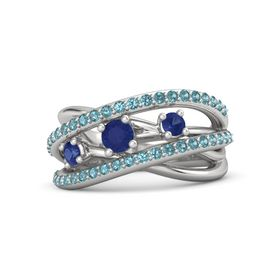 Round Blue Sapphire Sterling Silver Ring with Blue Sapphire and London Blue Topaz