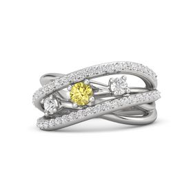 Round Yellow Sapphire Sterling Silver Ring with White Sapphire