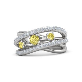 Round Yellow Sapphire Sterling Silver Ring with Yellow Sapphire and Diamond
