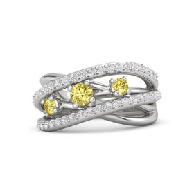 Round Yellow Sapphire Sterling Silver Ring with Yellow Sapphire and White Sapphire
