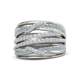 14K White Gold Ring with Diamond & Blue Topaz