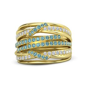 18K Yellow Gold Ring with London Blue Topaz & Diamond