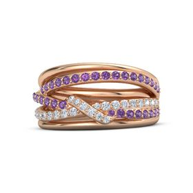 14K Rose Gold Ring with Amethyst & Diamond