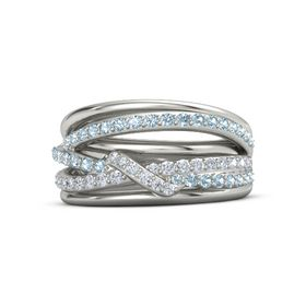 18K White Gold Ring with Aquamarine & Diamond