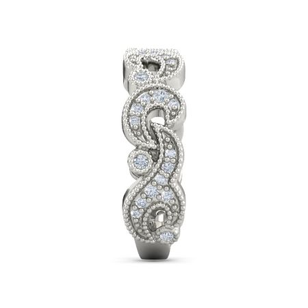 Shimmering Waves Ring - Platinum Ring with Diamond