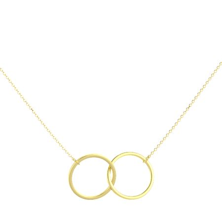 14K Yellow Gold Double Circle Necklace