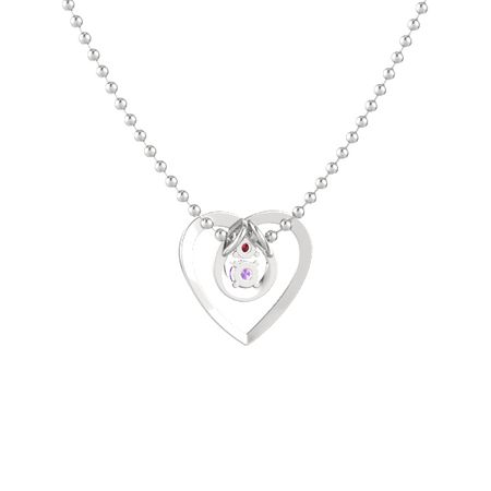 Sterling silver necklace with amethyst ruby eternal heart eternal heart pendant 2 stones aloadofball Images