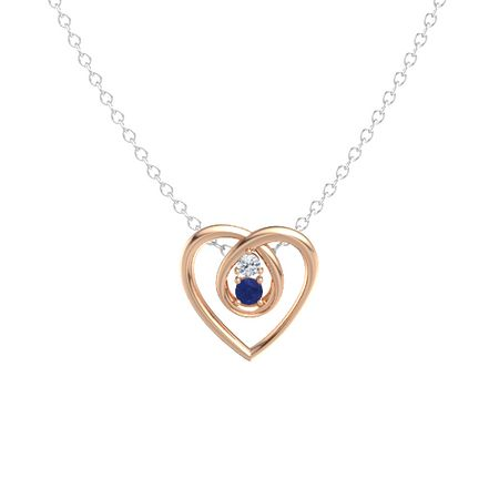 14k rose gold pendant with blue sapphire and diamond eternal heart eternal heart pendant 2 stones aloadofball Image collections