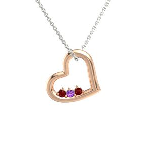 Round Amethyst 14K Rose Gold Pendant with Ruby