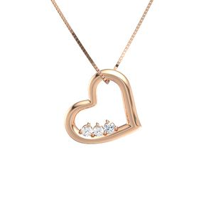 Round Rock Crystal 14K Rose Gold Pendant with Rock Crystal and Diamond