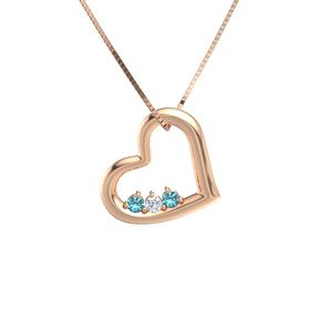 Round Diamond 14K Rose Gold Pendant with London Blue Topaz