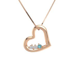 Round White Sapphire 14K Rose Gold Pendant with White Sapphire and London Blue Topaz