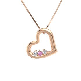 Round Pink Sapphire 14K Rose Gold Pendant with White Sapphire