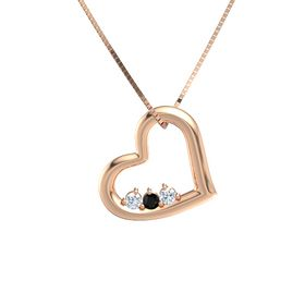 Round Black Onyx 14K Rose Gold Necklace with Diamond
