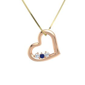 Round Blue Sapphire 14K Rose Gold Pendant with Diamond