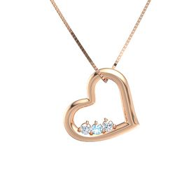 Round Blue Topaz 14K Rose Gold Necklace with Diamond