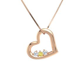 Round Yellow Sapphire 14K Rose Gold Necklace with Diamond