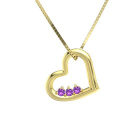 Round Amethyst 14K Yellow Gold Necklace with Amethyst