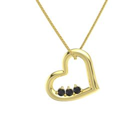 Round Black Diamond 14K Yellow Gold Pendant with Black Diamond