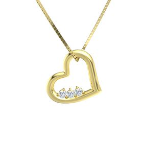 Round Diamond 14K Yellow Gold Necklace with Diamond