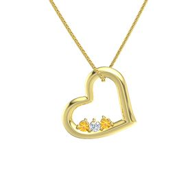 Round Diamond 14K Yellow Gold Necklace with Citrine