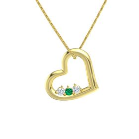 Round Emerald 14K Yellow Gold Necklace with Diamond