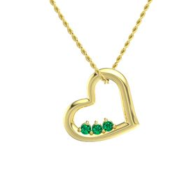 Round Emerald 14K Yellow Gold Pendant with Emerald